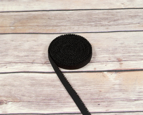 "3/8"" Black Plush Back Finishing Elastic Picot Edge Latex Free By The Yard - Arte Crafts Bra Making Supplies"