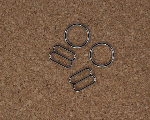 "3/8"" Silver Metal Rings and Sliders PREMIUM By The Set or By The Dozen - Arte Crafts Bra Making Supplies"