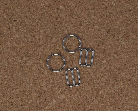 "1/2"" Silver Metal Rings and Sliders PREMIUM By The Set or By The Dozen - Arte Crafts Bra Making Supplies"