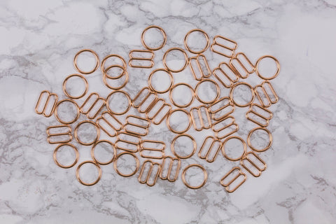"5/8"" Rose Gold Metal Rings and Sliders PREMIUM Nickel Free By the Set or By the Dozen - Arte Crafts Bra Making Supplies  - 1"