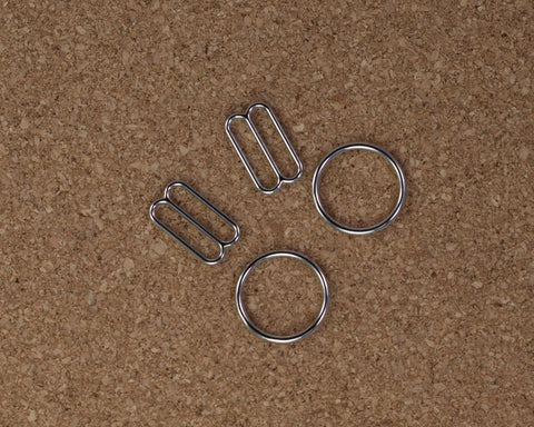 "5/8"" Silver Metal Rings and Sliders PREMIUM By The Set or By The Dozen - Arte Crafts Bra Making Supplies"