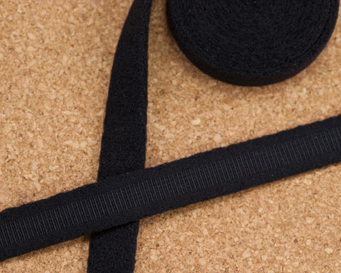 "3/8"" wide Black Plush Underwire Channeling for Bra Making By The Yard"