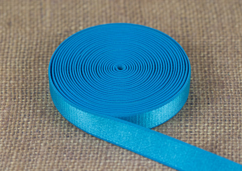 "1/2"" Medium Blue Satin Plush Back Strap Elastic By The Yard - Arte Crafts Bra Making Supplies  - 1"