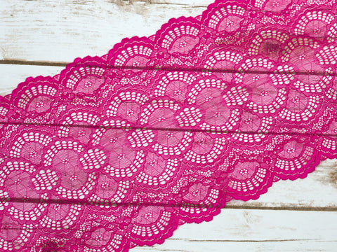 "8.5"" Hot Pink Double Scallop Galloon Stretch Lace By The Yard"
