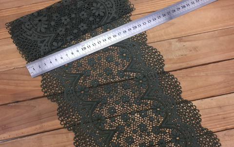 "7.5"" Olive Green Crochet Look Double Scallop Galloon Stretch Lace By The Yard"
