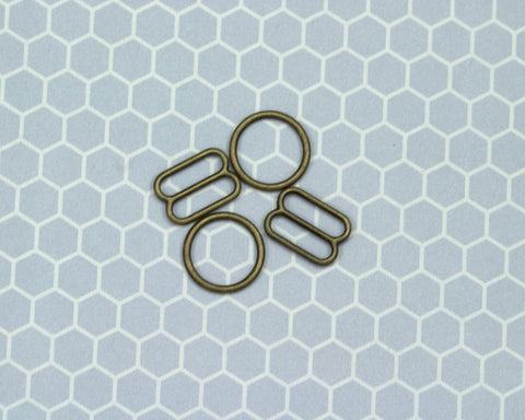 "1/2"" Antique Bronze Metal Rings and Sliders PREMIUM Nickel Free By The Set or By The Dozen - Arte Crafts Bra Making Supplies"