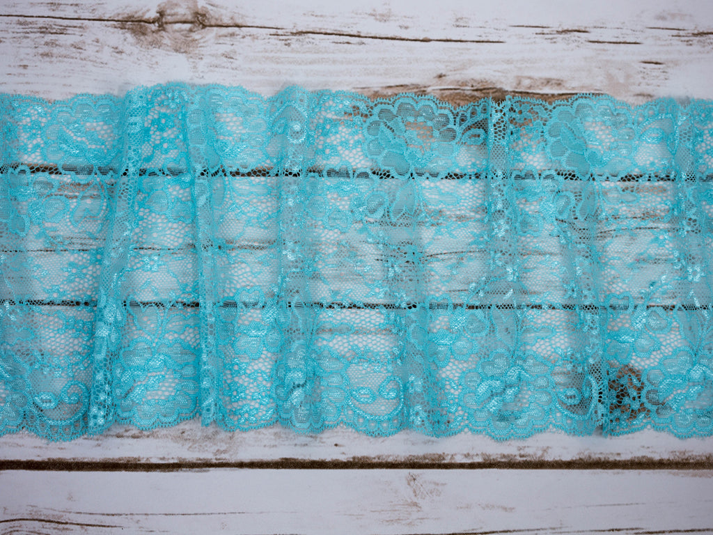 "7"" Aqua Floral Double Scallop Galloon Stretch Lace By The Yard - Arte Crafts Bra Making Supplies  - 1"