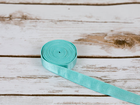 "5/8"" Aruba Aqua Satin Faced Plush Back Strap Elastic By The Yard"