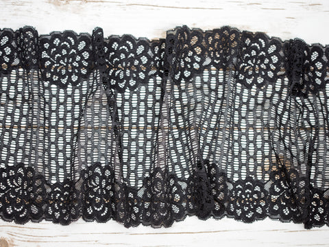 "8.5"" Black + Metallic Wide Double Scallop Galloon Stretch Lace By The Yard - Arte Crafts Bra Making Supplies  - 1"