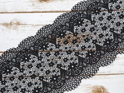"7.5"" Black Crochet Look Double Scallop Galloon Stretch Lace By The Yard"