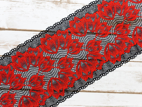 "7"" Red + Black Floral Double Scallop Galloon Stretch Lace By The Yard - Arte Crafts Bra Making Supplies  - 1"