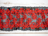 "7"" Red + Black Floral Double Scallop Galloon Stretch Lace By The Yard - Arte Crafts Bra Making Supplies  - 2"