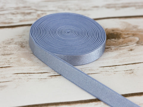 "1/2"" Blue Grey Satin Plush Back Strap Latex Free Elastic By The Yard - Arte Crafts Bra Making Supplies"