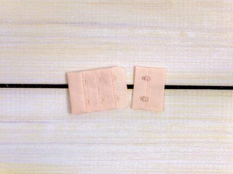 "Champagne Beige 2 Hook and Eye Bra Closures 1.5"" x 2"""