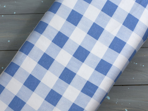 Bolt By Girl Charlee Modern Reflection Giant Gingham Blue Cotton Spandex Knit Fabric By the HALF Yard