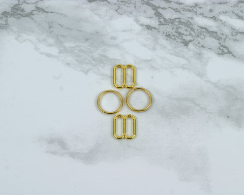 "1/4"" Gold Metal Rings and Sliders PREMIUM Nickel Free By The Set or By The Dozen - Arte Crafts Bra Making Supplies"