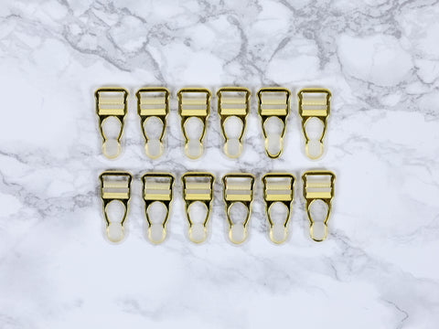 "1/2"" Gold Garter / Suspender Clips Set of 12 Lingerie Making - Arte Crafts Bra Making Supplies"