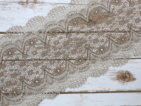 "7.5"" Dusty Taupe Grey Crochet Look Double Scallop Galloon Stretch Lace By The Yard"