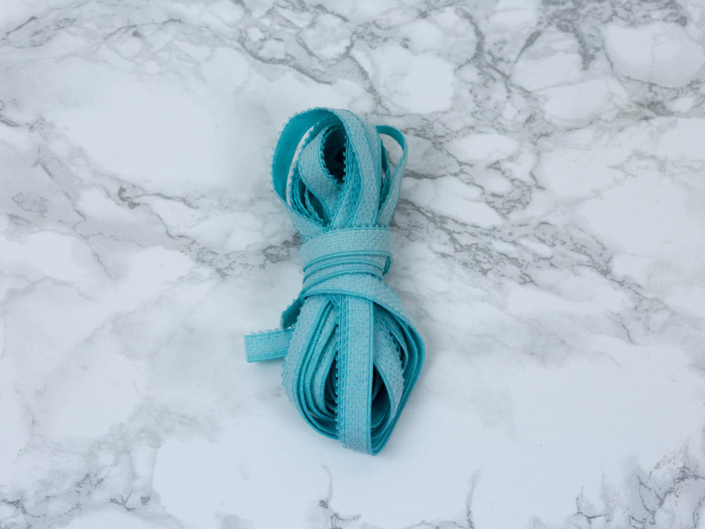 "3/8"" Aqua Blue Plush Back Finishing Elastic Picot Edge By The Yard - Arte Crafts Bra Making Supplies"