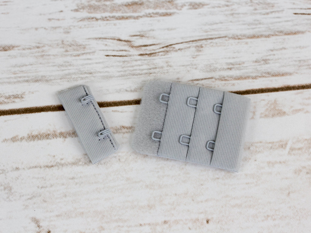 "High Rise Grey Pink 2 Hook and Eye Bra Closures 1.5"" x 2.25"" - Arte Crafts Bra Making Supplies"