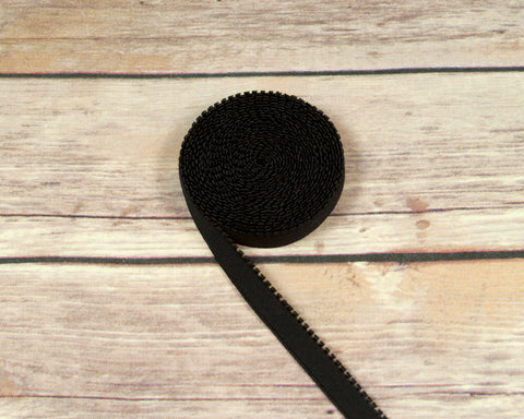 "1/2"" Black Plush Back Finishing Elastic Picot Edge Latex Free By The Yard - Arte Crafts Bra Making Supplies"