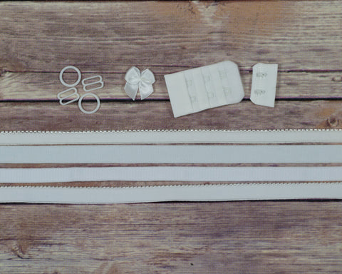 Bra Making Findings Kit in White Medium DYEABLE