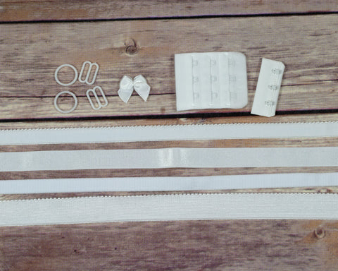 Bra Making Findings Kit in White Wide DYEABLE - Arte Crafts Bra Making Supplies