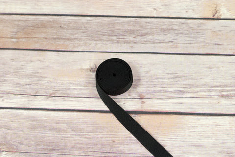"5/8"" Black Satin Faced Plush Back Strap Elastic By The Yard - Arte Crafts Bra Making Supplies"