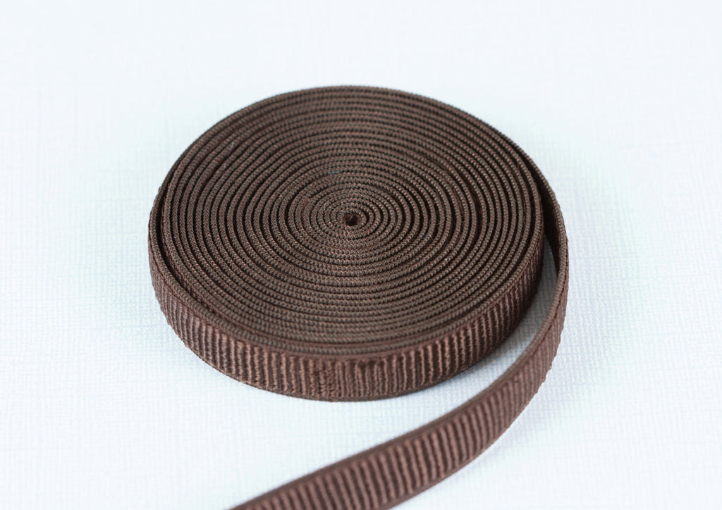 "1/2"" Chocolate Brown Ribbed Satin Plush Back Strap Elastic By the Yard - Arte Crafts Bra Making Supplies"
