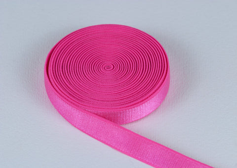"Bubble Gum Pink 1/2"" Satin Plush Back Strap Elastic By The Yard - Arte Crafts Bra Making Supplies  - 1"