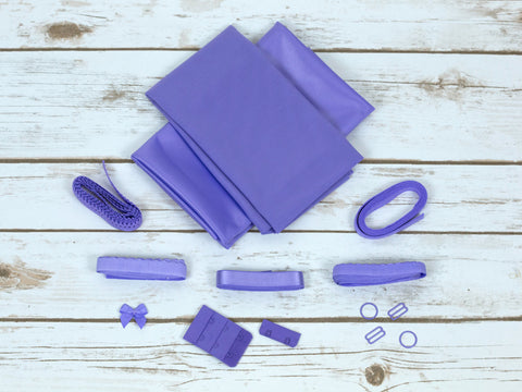 Lilac Purple Duoplex Bra Making Kit Medium Width Findings Bramaking Lingerie Kit - Arte Crafts Bra Making Supplies