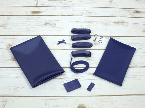 Navy Blue Blue Duoplex Bra Making Kit Medium Width Findings - Arte Crafts Bra Making Supplies
