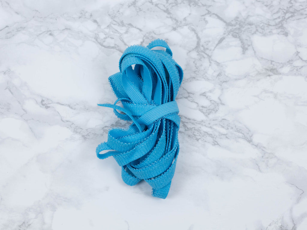 "3/8"" Bright Blue Plush Back Picot Panty Elastic  By The Yard - Arte Crafts Bra Making Supplies"