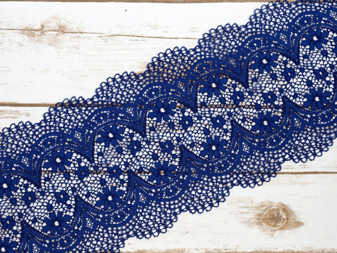 "7""  Inkblot Blue Crochet Look Double Scallop Galloon Stretch Lace By The Yard"