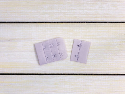 "Lavender Fog Purple 2 Hook and Eye Bra Closures 1.5"" x 2"""