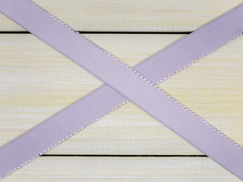 "3/4"" Lavender Fog Plush Back Finishing Elastic Picot Edge Latex Free By The Yard"