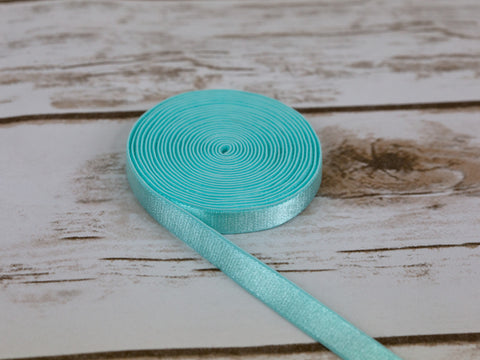 "3/8"" Mint Green Satin Plush Back Strap Latex Free Elastic By The Yard - Arte Crafts Bra Making Supplies"
