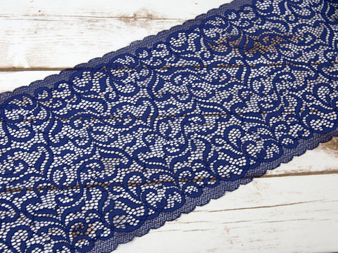 "7"" Navy Blue Swirls Double Scallop Galloon Stretch Lace By The Yard"
