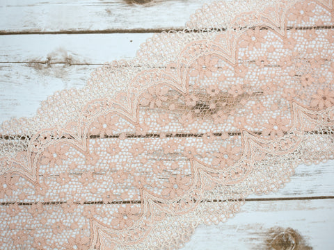 "7.5""  Peach Sorbet Crochet Look Double Scallop Galloon Stretch Lace By The Yard"