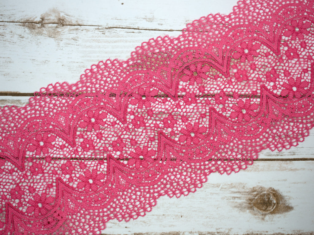 "7"" Hot Pink Crochet Look Double Scallop Galloon Stretch Lace By The Yard"