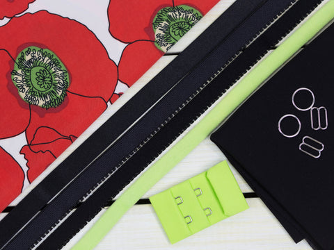 Poppy Print Black + Apple Green Bra Making Kit