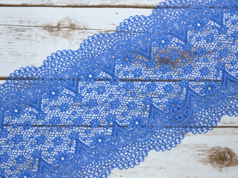 "7.5"" Soft Blue Crochet Look Double Scallop Galloon Stretch Lace By The Yard"