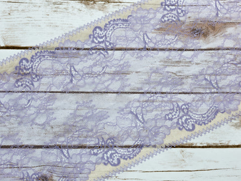 "7.5"" Purple + Yellow Floral Double Scallop Galloon Stretch Lace By The Yard"