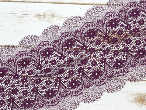 "7.5"" Purple + White Crochet Look Double Scallop Galloon Stretch Lace By The Yard"