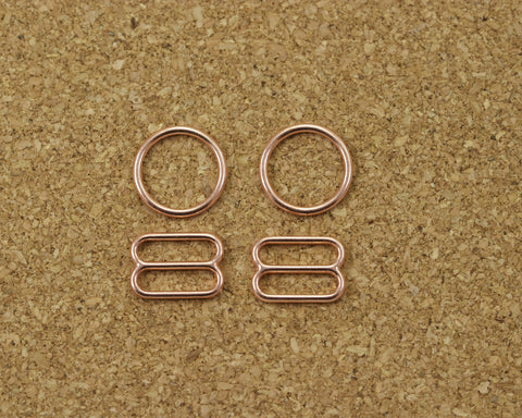 "3/8"" Rose Gold Metal Rings and Sliders PREMIUM Nickel Free By The Set or By The Dozen - Arte Crafts Bra Making Supplies"
