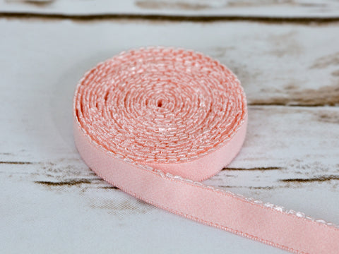 "1/2"" Rose Quartz Pink Plush Back Finishing Elastic Picot Edge Latex Free By The Yard"