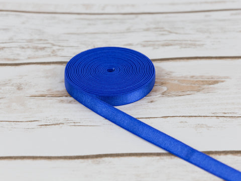 "3/8"" Royal Blue Satin Plush Back Strap Latex Free Elastic By The Yard - Arte Crafts Bra Making Supplies"