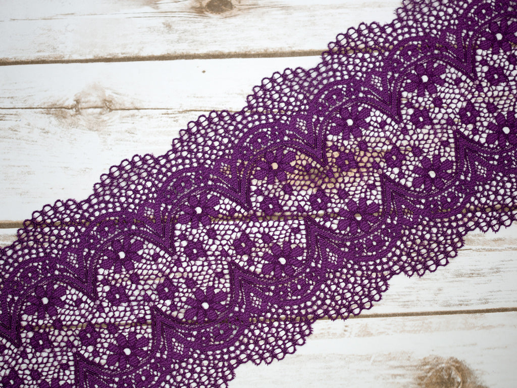"7"" Royal Purple Crochet Look Double Scallop Galloon Stretch Lace By The Yard"