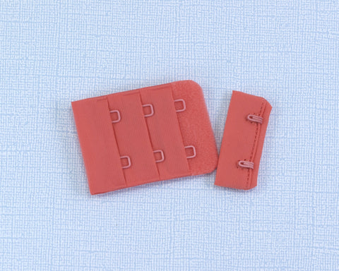 "Tangerine Orange 2 Hook and Eye Bra Closures 1.5"" x 2.125"" - Arte Crafts Bra Making Supplies"