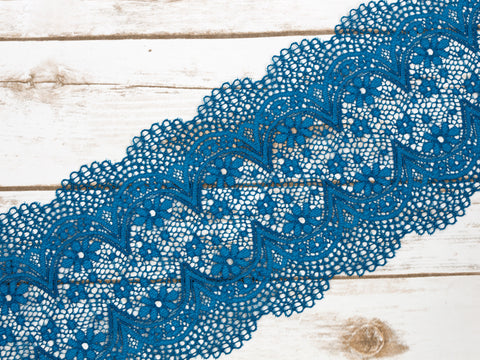 "7""  Turquoise Blue Crochet Look Double Scallop Galloon Stretch Lace By The Yard"